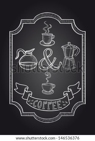Trendy Cup, jar and Coffee machine vintage background. This illustration is layered for easy manipulation and custom coloring - stock vector