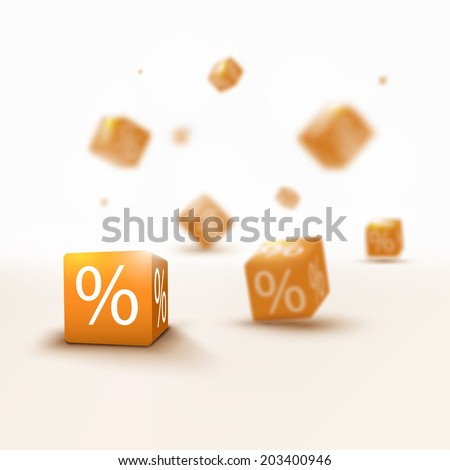 Trendy 3D blurred and golden discount boxes for designs - stock vector