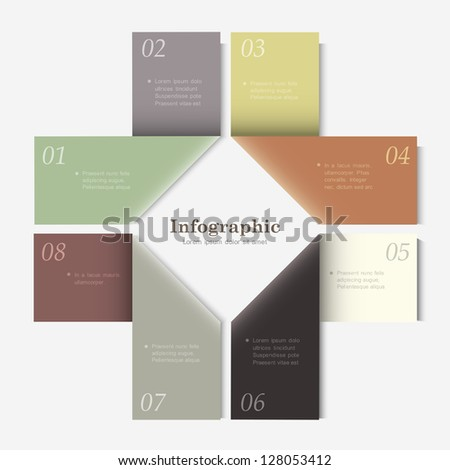 Trendy Design template for infographics, website templates and graphic business design. Vector EPS10 in retro colors - stock vector