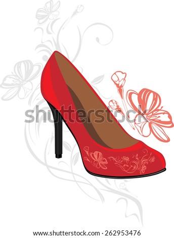 Trendy elegant red shoes. Vector - stock vector