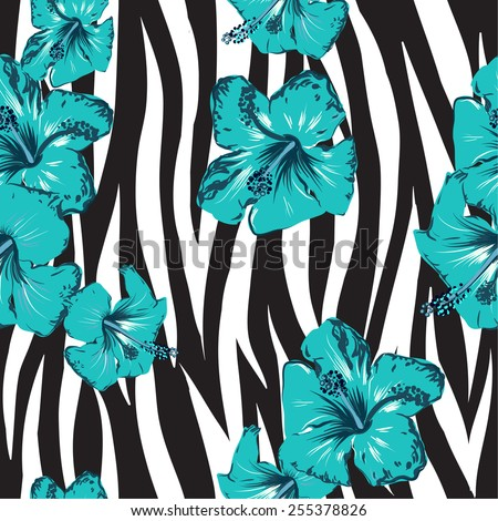 trendy fashion fabric print with zebra stripes and flowers seamless vector illustration - stock vector