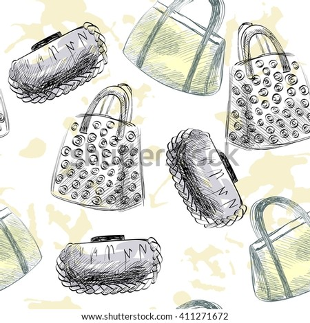 trendy fashion  handbags.  Fashionable Hand drawn illustration. - stock vector