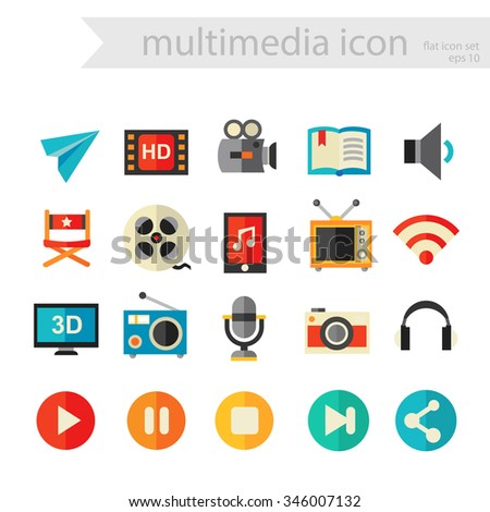 Trendy flat detailed multimedia colored icons, isolated on white background, 10 eps