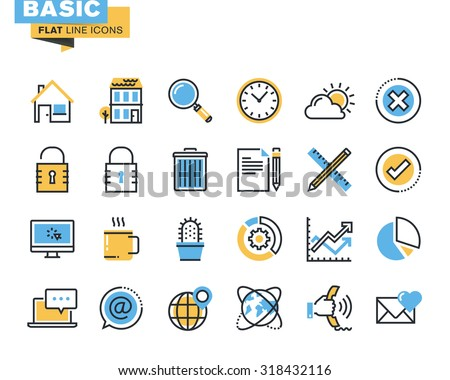 Trendy flat line icon pack for designers and developers. Basic icons for websites and mobile websites and apps.  - stock vector