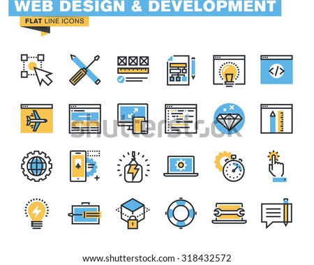 Trendy flat line icon pack for designers and developers. Icons for web design and development, seo, app development, online security, responsive design, for websites and mobile websites and apps.  - stock vector