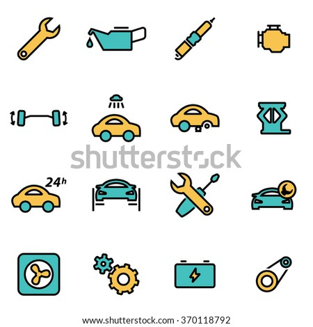 Trendy flat line icon pack for designers and developers. Vector line car service icon set