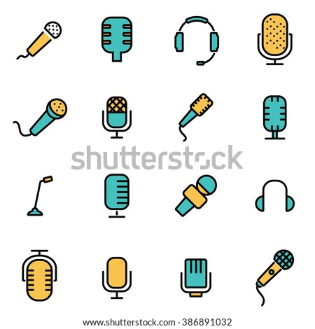 Trendy flat line icon pack for designers and developers. Vector line microphone icon set, microphone icon object, microphone icon picture, microphone icon image - stock vector - stock vector
