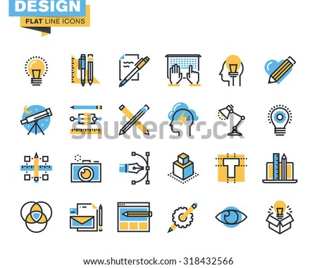 Trendy flat line icon pack. Icons for graphic design, web design, photography, industrial design, branding, corporate identity, stationary, product design, for websites and mobile websites and apps.  - stock vector