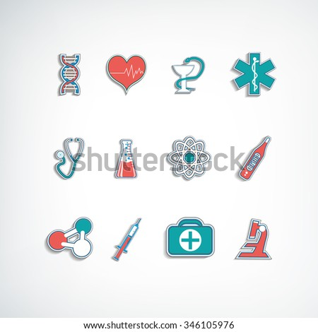 Trendy flat medical icons in the paper style. Vector Illustration, eps 10, contains transparencies. - stock vector