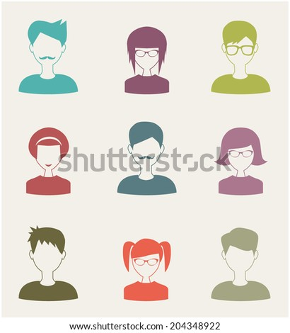 trendy flat people icons set 2 - stock vector