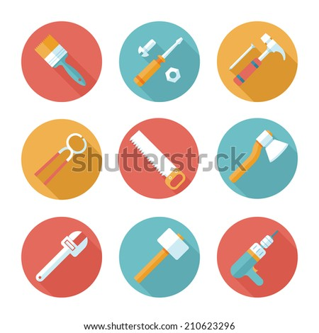 Trendy flat working tools icons. Vector illustration - stock vector