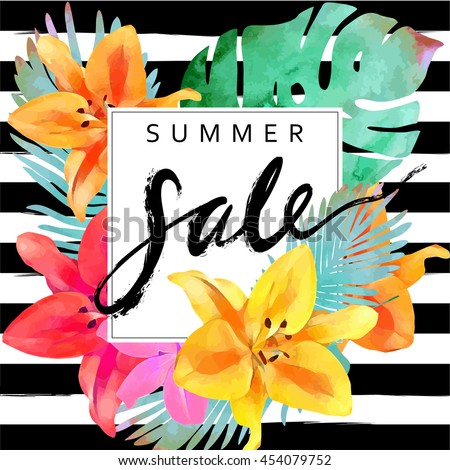 "Trendy floral vector template. Summer flowers  and ""Summer sale"" lettering  illustration. Tropical leaves and exotic flowers texture on striped background."