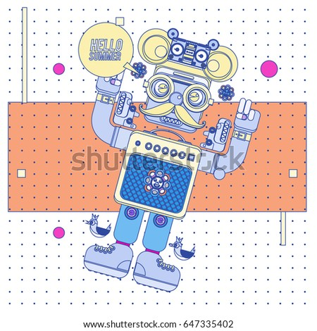 Trendy Geometric Elements Memphis Summer Greeting Cards Design. Retro Style  Robot Saying Hello Summer.