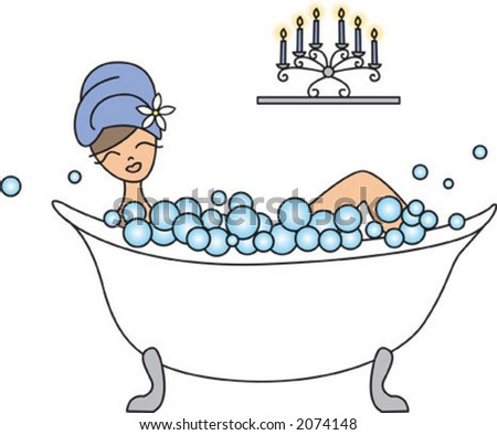 trendy girl relaxing in the bath tub with lots of bubbles