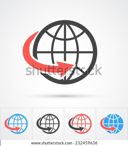 Trendy globe with arrow colorful and black icon. Vector - stock vector