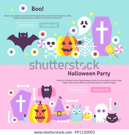 Trendy Halloween Party Web Banners Vector Stock Vector 491120005 ...