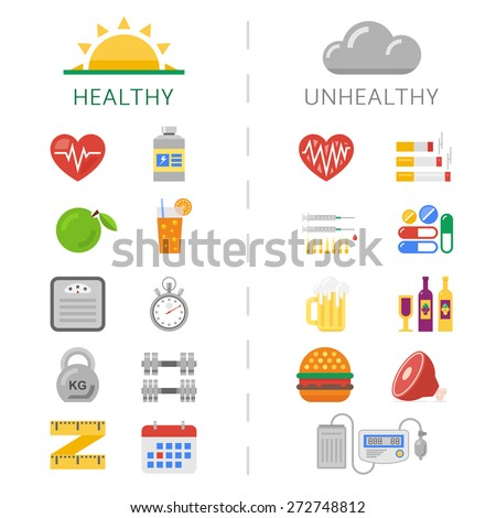 Trendy healthy and unhealthy lifestyle icons. Sport and health to the right and unhealthy bad habits to the left. - stock vector