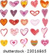 Trendy hearts - stock photo