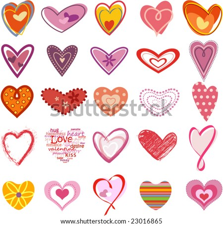 Trendy hearts - stock vector