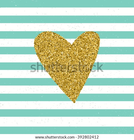 Trendy hearts color vector on striped background. Gold glittering heart confetti seamless pattern on striped background. Invitation, wedding card, valentine's day romantic card - stock vector