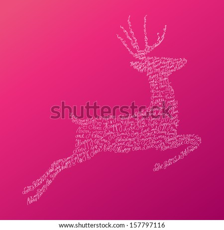 Trendy hipster jumping reindeer shape with holiday text and pink background. Merry Christmas composition. EPS10 vector file organized in layers for easy editing. - stock vector