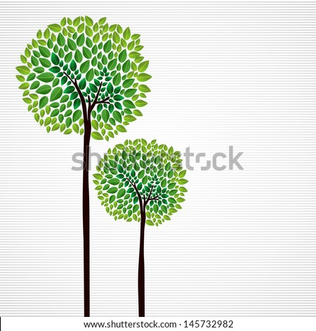 Trendy isolated green trees forest drawing. Vector file layered for easy manipulation and custom coloring.   - stock vector