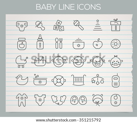Trendy line baby stuff icons on paper background