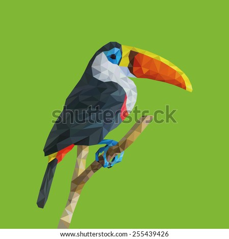 "Trendy ""low poly"" Colored Toucan.Vector Low Poly, Polygonal Illustration. - stock vector"
