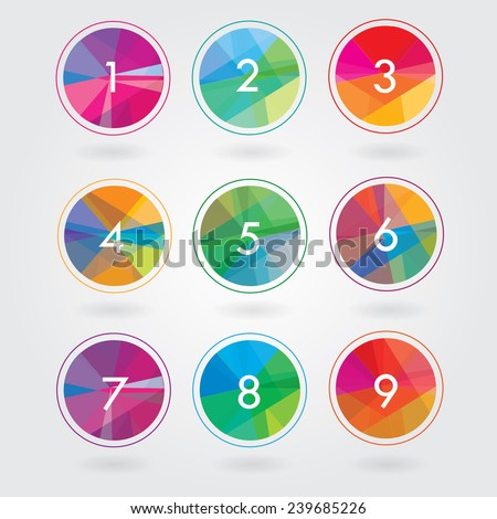 trendy modern abstract colorful round icon elements with numbers in polygonal triangular geometric pattern- business design shapes - stock vector