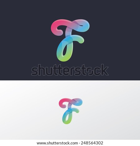 trendy modern multicolored calligraphic letter t logo element for business visual identity- colorful gradient mesh technique with overlapping curves - stock vector