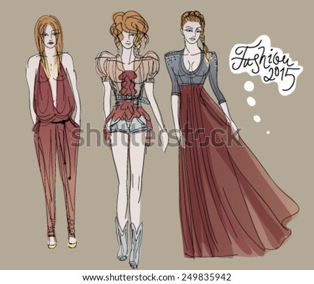 Trendy outfits / Three women go for a walk  - stock vector