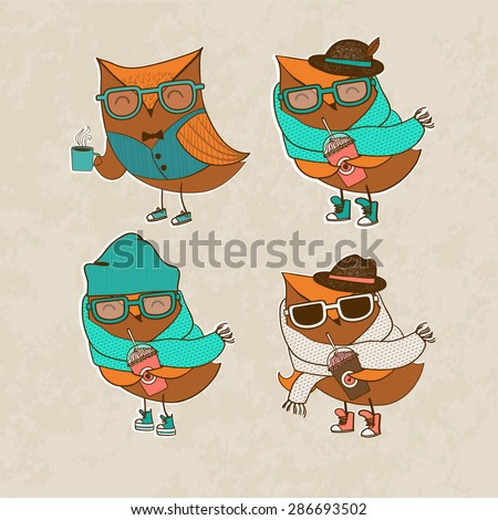Trendy owl in a glasses. Vector illustration.  - stock vector