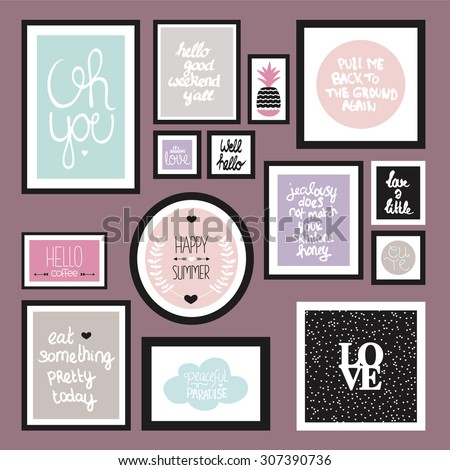 Trendy pastel color wall decoration typography quote home decor photo frame with inspirational life and love hand lettering text in vector - stock vector