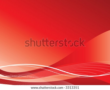 Trendy red wave background - stock vector