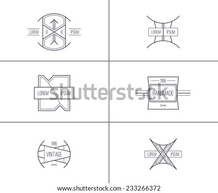 Trendy retro vintage badges in thin line style  - stock vector