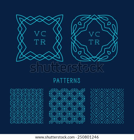 Trendy Retro Vintage Insignias Bundle. Animals. Wolf, lion, fox. Vector set of outline emblems and badges - abstract hipster logo templates - stock vector