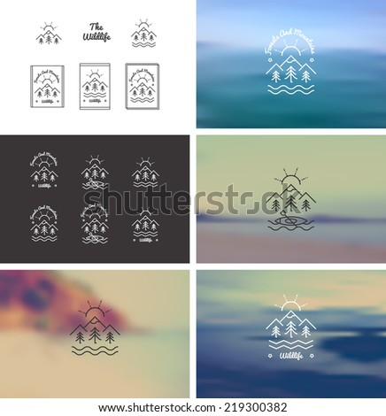 Trendy Retro Vintage Insignias Bundle.  100% vector shape. Fully editable in Illustrator. Only free font were used.  The help file (***.txt) contains the list of download links.  - stock vector