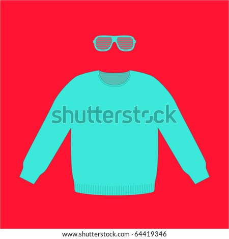 trendy set of sweater and plastic glasses - stock vector