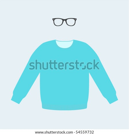 trendy set of sweater and sunglasses - stock vector
