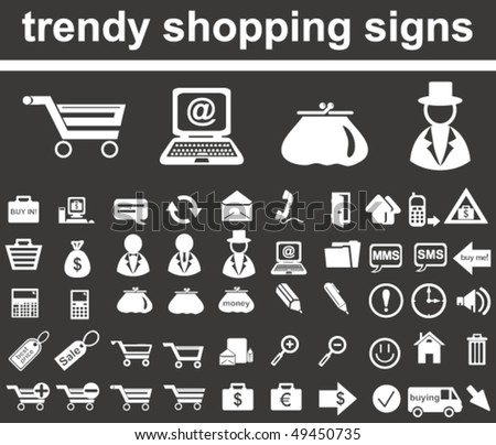 Trendy Shopping Signs - stock vector