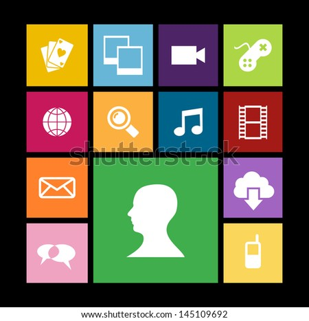 Trendy smartphone web apps icon set concept background. Vector illustration layered for easy manipulation and custom coloring. - stock vector