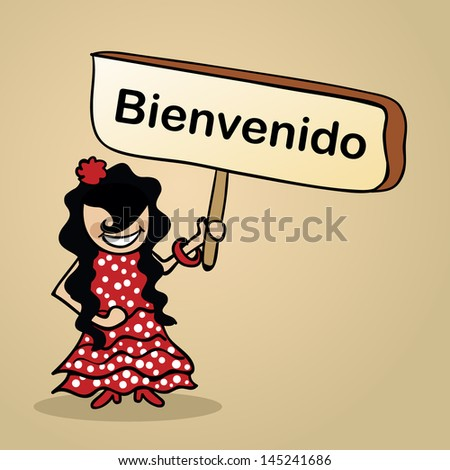 Trendy spanish woman says welcome holding a wooden sign sketch. Vector file illustration layered for easy editing. - stock vector