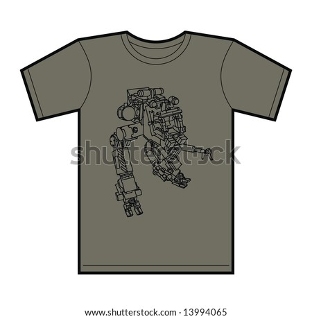Trendy T-Shirt design with funky hand drawn mecha robot.