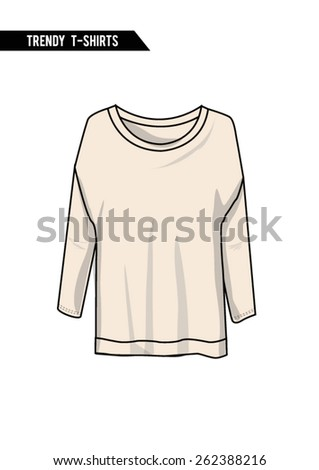 Trendy t-shirt,long sleeve,round neck in vector. - stock vector