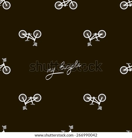 Trendy texture bicycle seamless on black background - stock vector