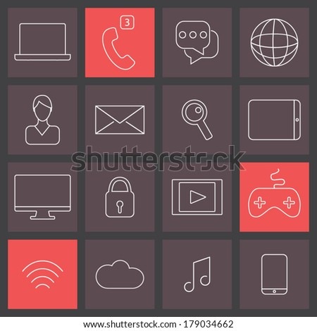 Trendy thin line icons set, social media collection - stock vector