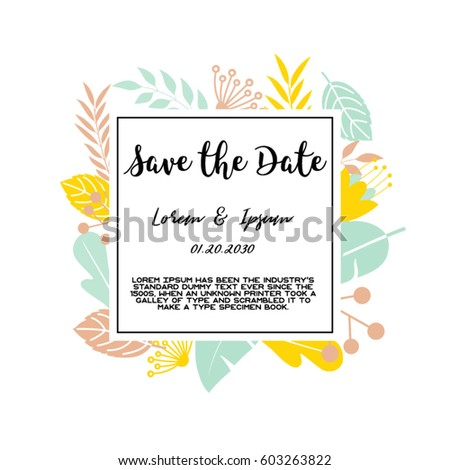 Trendy tropical jungle style vector invitation stock vector hd trendy tropical jungle style vector invitation template textured leaves flower background save the date stopboris Images