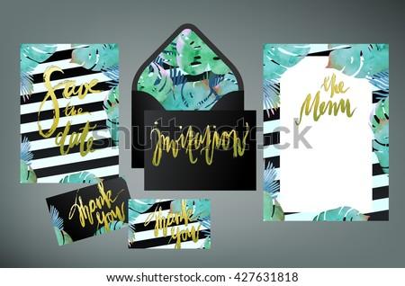 Trendy tropical jungle style wedding print stock vector 427631818 trendy tropical jungle style wedding print set invitation cards menu and envelope vector templates stopboris Images