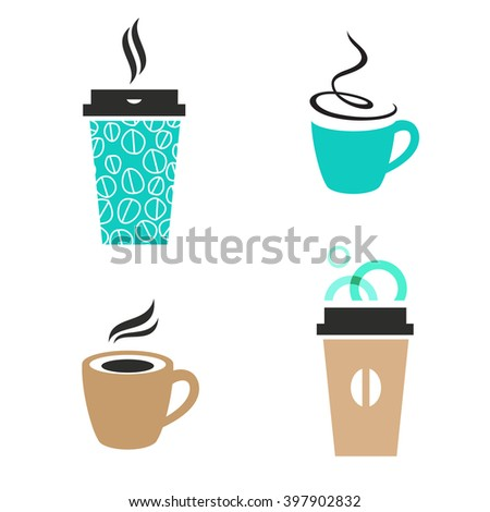 Trendy vector coffee signs. Disposable paper cup, cappuccino, classic espresso, latte takeaway. - stock vector