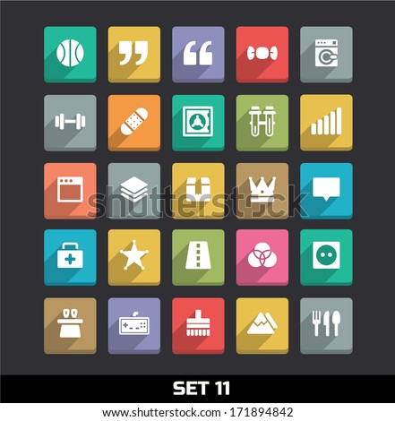 Trendy Vector Icons With Long Shadow Set 11 - stock vector